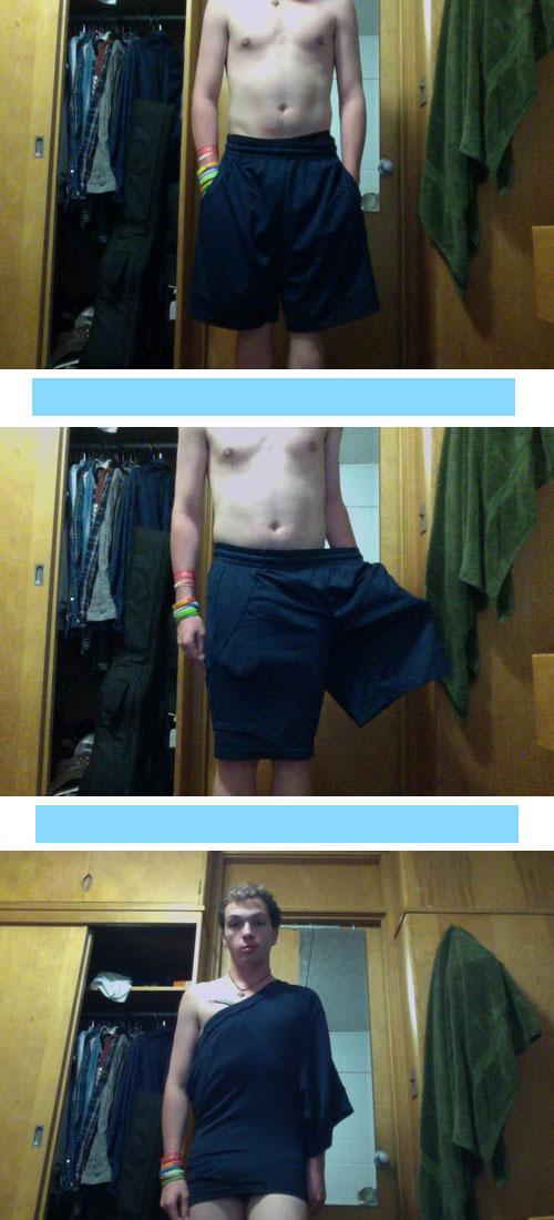 shorts into dress